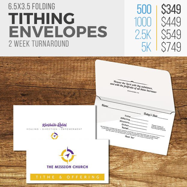 Custom Church Tithing Envelopes - Security Remittance Contribution Envelopes